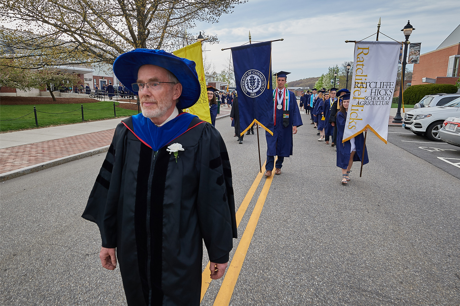 Hedley Freake leading commencement procession