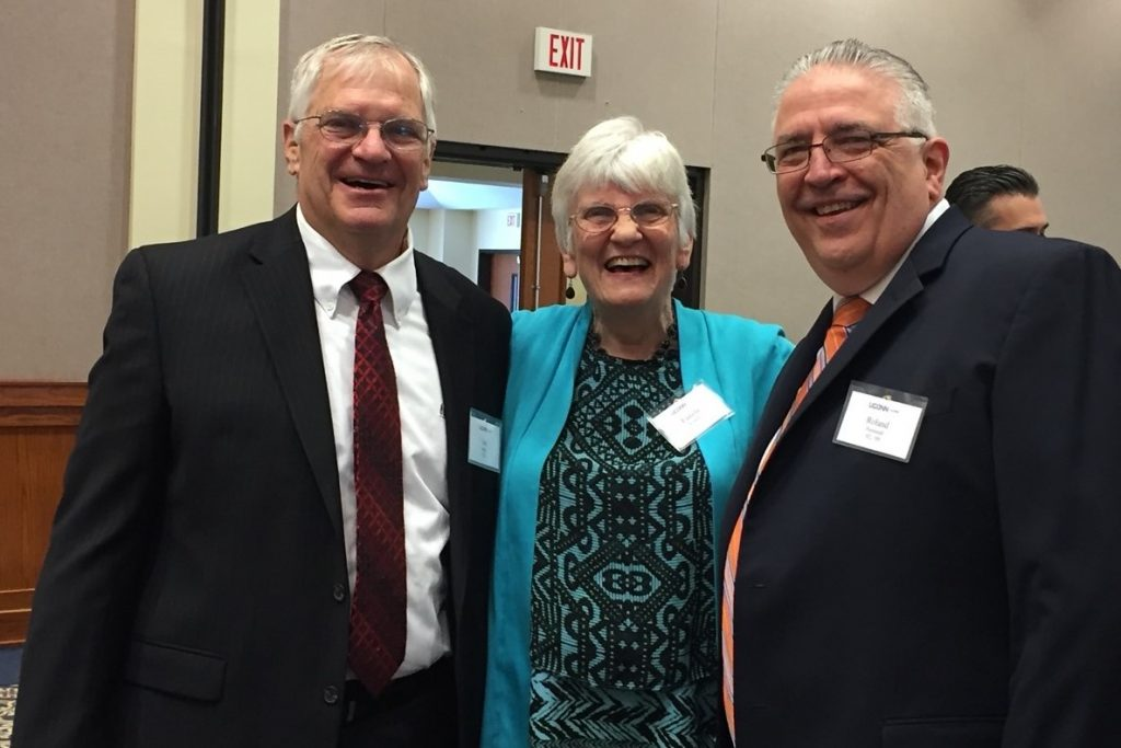 Left to right: Dean Emeritus of the School of Allied Health, Associate Professor Emerita Pamela Roberts and Roland Perreault.