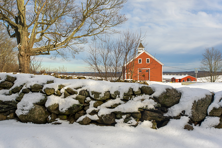 Jacobson Barn after a snowstorm in December 2020.